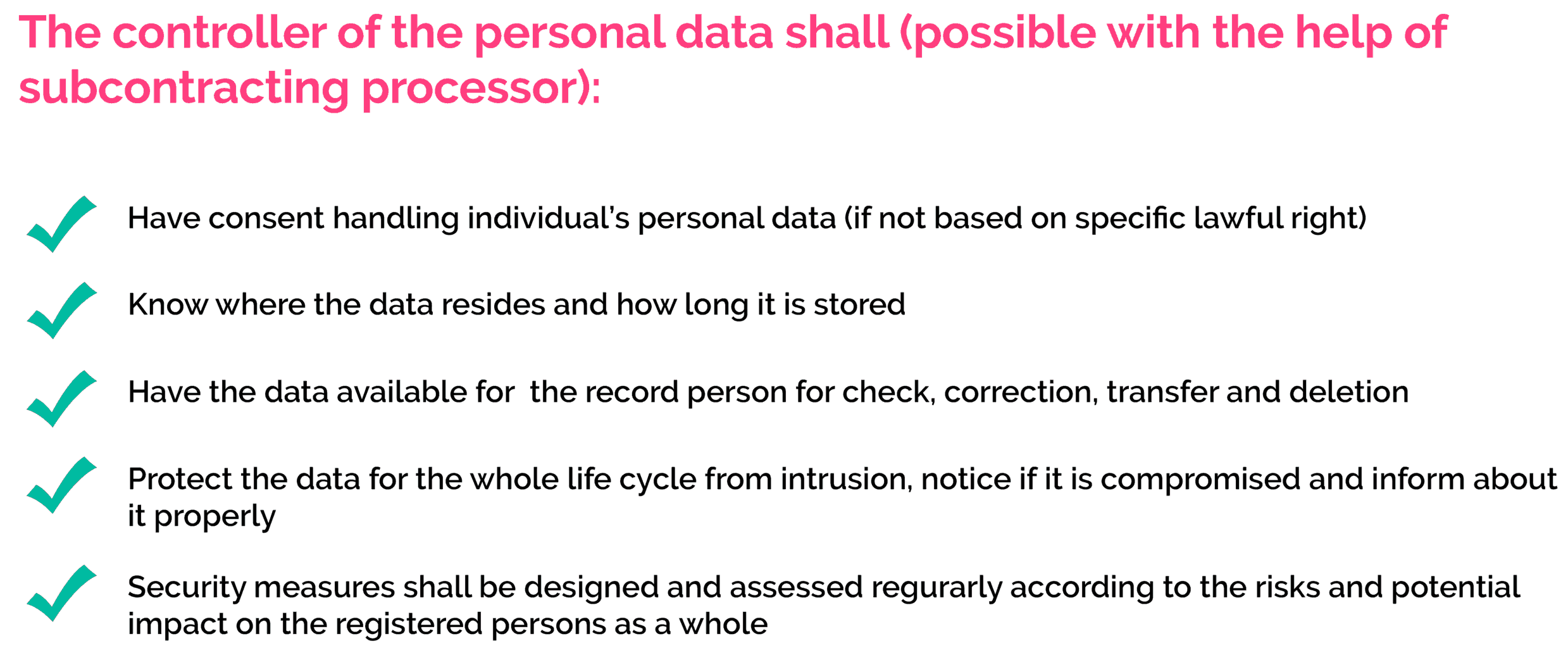 GDPR: requirements for controller of personal data